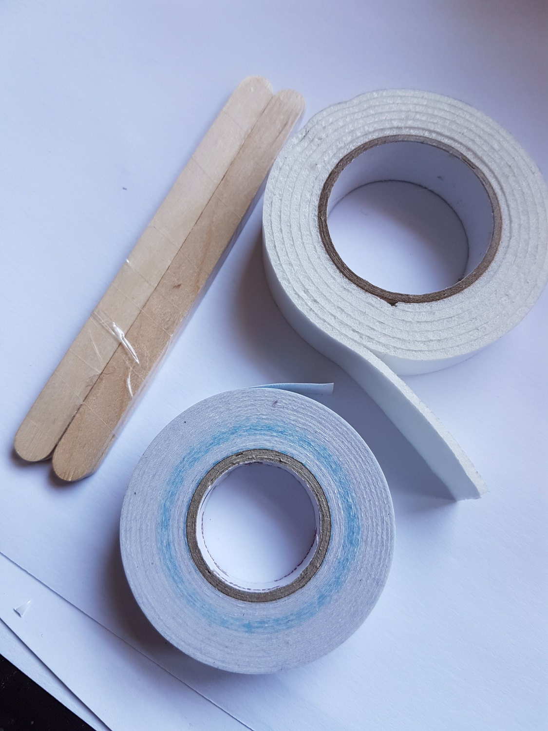 Paddle pop sticks, mounting tape and double sided tape
