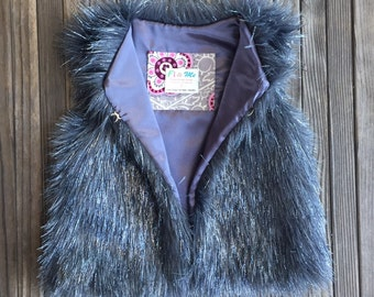 Fur Vest Grey & Silver Faux Fur Girls Vest, Fashion, Boutique, Runway, Metallic, Faux Fur, Girl, Baby, Chic, Vest, Silver, Satin