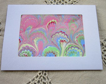Pink Peacock - Hand Marbled Blank Frame Card (A7)