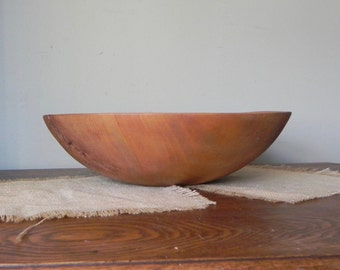 Vintage wood dough bowl - large - 13 and a fourth  in diameter trencher