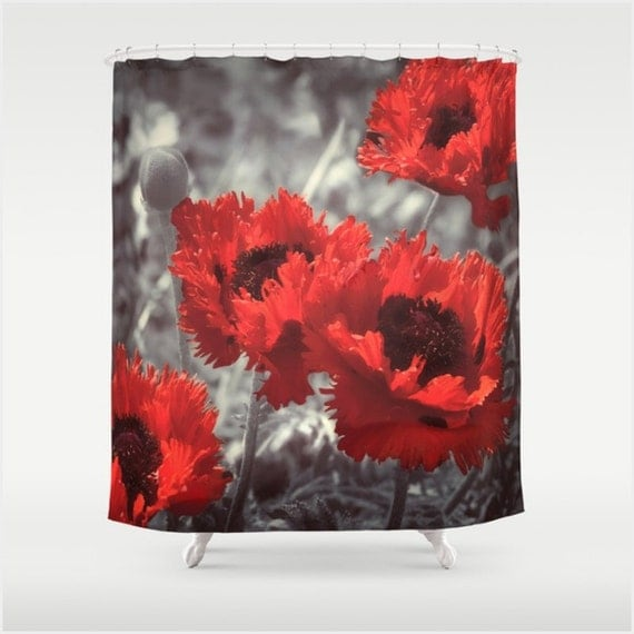 Fabric Shower Curtain With Big Red Watercolor Style Poppies