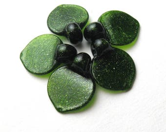 Lampwork Glass Bead Supplies, AVENTURINE GREEN LEAVES, sra lamp glass leaf beads