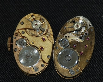 Vintage Oval Watch Movements Gold Steampunk  RE 30