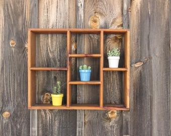 Midcentury Handmade Wooden Shelf