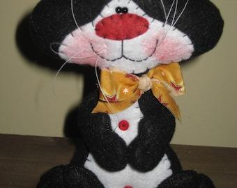 Primitive HC Whimsical Tuxedo Kitty Cat Doll Shelf Sitter Ornie