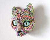 Cosmic Cat Art Mask Wall Sculpture