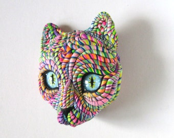 Cosmic Cat Art Mask Wall Sculpture