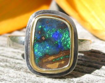 Australian Koroit Boulder Opal Ring - Sterling Silver 22K Gold Boulder Opal ring - US size 8 1/2 - mixed metal Opal ring - size 8.5