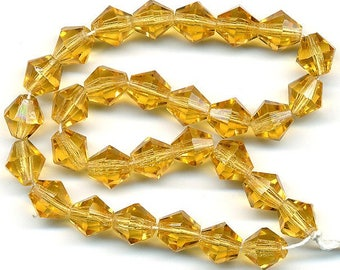 Vintage Topaz Glass Beads 8mm Faceted Bicone Beads 30 Pcs. Made in W. Germany