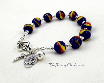 Holy Spirit Rosary Bracelet Chaplet Navy Blue Red Yellow Single Decade Mirculous Medal St Therese Mary Undoer Knots Little Flower OL Grace
