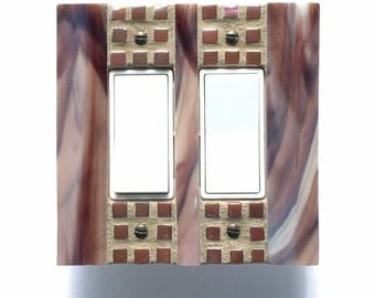 Brown Light Switch Cover, Stained Glass Switch Plate, Decorative Light Switch, Dimmer Cover Plate, Outlet Cover, Wall Switch Plate, 8574