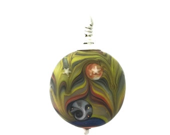 Recycled Stained Glass Lamp Work Bead Jungle