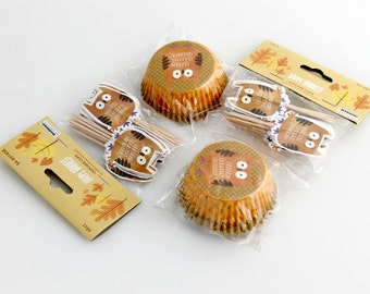 Cupcake Cups and Picks. Owl. Thanksgiving.