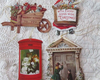 England Die Cut 4 Assorted Christmas Gift Tags Scrapbooking Card Making