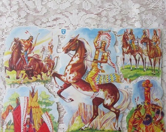 Germany Vintage Native American Indian Lithographed Die Cut Paper Scraps By WS Out Of Print  658