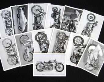 13 Kosmos tobacco photo pictures 1950s German motorcycle black and white photo cards