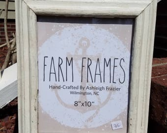 8x10 WHITE old vintage wood picture frame