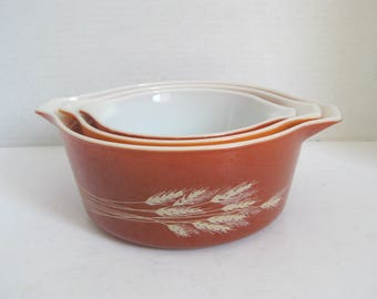 Vintage Pyrex Wheat Casserole Dishes Set of Three
