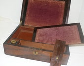 Mahogany Laptop Desk = Vintage Writing Desk - Inkwell -