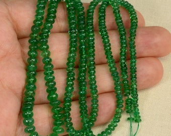 3mm-6mm Zambian EMERALD Smooth Plain Rondelle Beads 22 inch strand