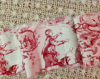 LAST ONE French Country Toile - Red on Creamy White