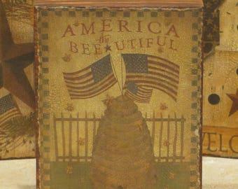 Wood Americana Plaque Bee Hive