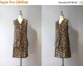 STOREWIDE SALE 1960s Leopard Print Dress Set / Vintage 60s Faux Fur Leopard Print Skirt and Vest / Animal Print Outfit S small S/M