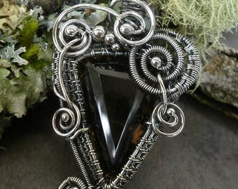 Fine Silver and Smoky Quartz Pendant