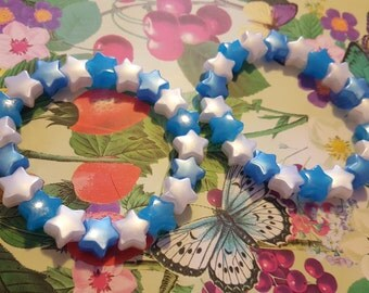Two Glow in the Dark blue and white star bead bracelets kawaii kandi rave