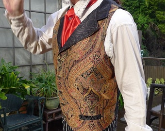 Burgundy, Black and Copper Tapestry Steampunk Victorian Lapeled Gentlemen's Vest