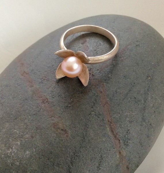Sterling Silver Lily of the Valley Ring with Pearl