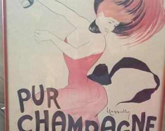 Vintage original authentic rare french champange advertisement poster