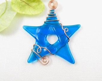 Turquoise Glass Star Ornament Suncatcher - Fused Glass Star Christmas Ornament - Star Window Decoration - Christmas Star Ornament