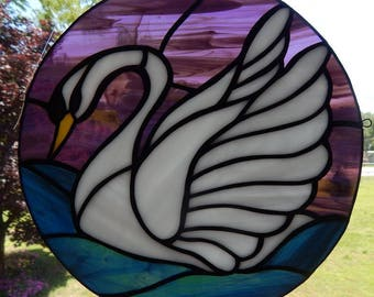 Swan Stained Glass Suncatcher/Panel