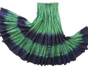 Dupioni Silk Gypsy Skirt Handmade and Dyed with Shibori