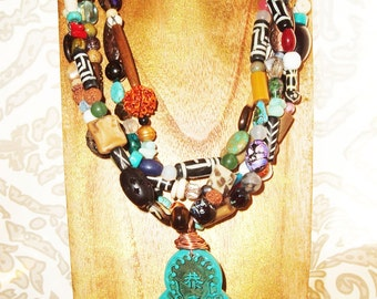 Multi-Bead Ethnic Necklace, Bohemian, Asian Carved Wire Wrapped Resin Pendant, Five Strands, Turquoise, Agate, Pearl, Bone, Coral, Jade