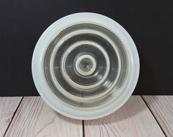 Vintage Mid Century Frosted and Clear Glass Drum Style Ceiling Light Shade Diffuser Globe