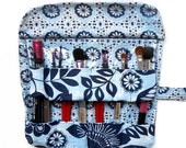 Navy Blue Makeup Holder, Floral Travel Brush Roll Up, Carrier for Brushes and Cosmetics, Fabric Makeup Bag, Brushes Storage, Cosmetic Pouch