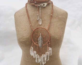 Day Dream Catcher necklace w/ Quartz crystal butterscotch waxed linen and silver feather- long with toggle clasp