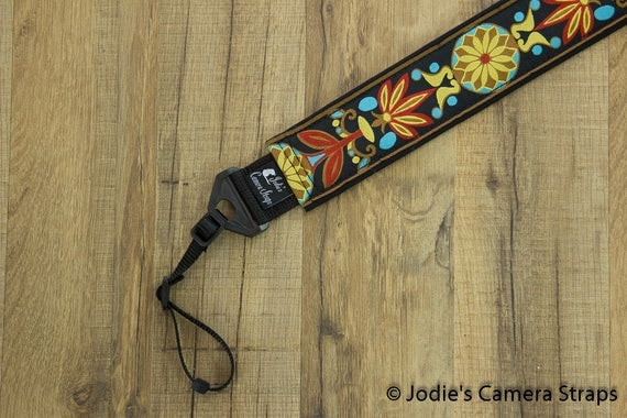 Camera Strap 2 in Wide Custom Padded Pinwheels Red Yellow on Black DSLR SLR