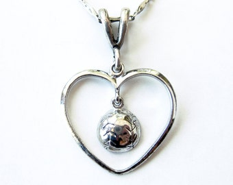 Vintage Sterling Silver Heart Shaped Pendant with BASEBALL Drop  / 17 inch silver chain