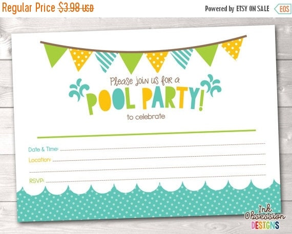 50 OFF SALE Pool Party Printable Invitation Fill In Blank – Blank Pool Party Invitations