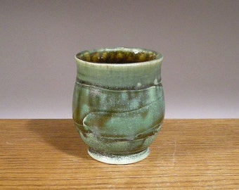 Wheel Thrown and Handmade Tea Bowl , Juice or Whiskey Cup with layered glaze and slip texture