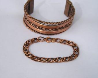 Two Vintage Copper Wide Cuff Bracelet & Link Chain Bracelet Lot