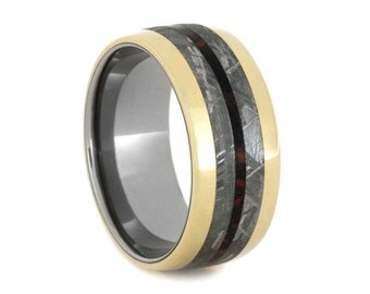 14k Yellow Gold Wedding Band With Meteorite And Red and Black Mokume Inlays, Titanium Ring