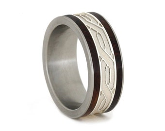 Honduran Rosewood Wedding Ring, Titanium Band with Silver Celtic Knot Inlay, Wedding Ring for Her or Him