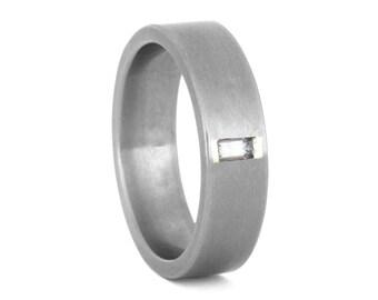 Baguette White Sapphire Wedding Ring For Men or Titanium Engagement Ring For Him, Handmade Ring