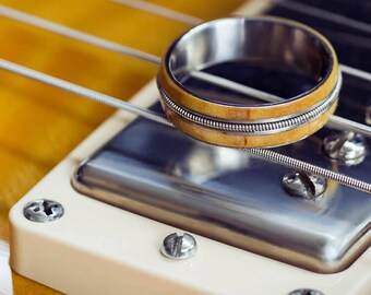 Guitar String Ring, Rowan Wood Wedding Band Made With Titanium, Gift For Musicians
