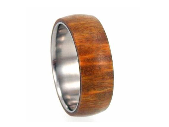 Wood Ring - Lignum Vitae Wood Overlay on Titanium Band - Wedding band, Ring Armor Included