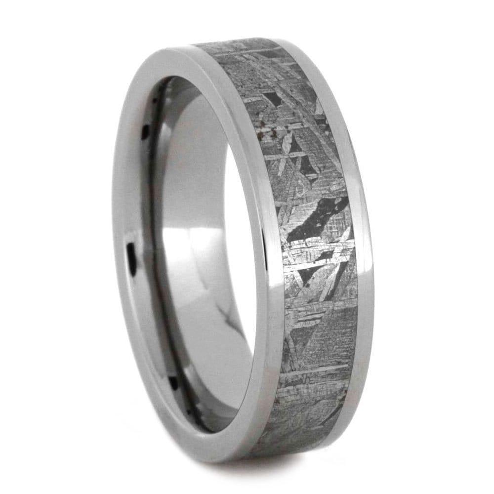 Meteorite Ring In Titanium Wedding Band Set Meteorite